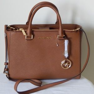 MICHAEL KORS KELLEN LEATHER MEDIUM SATCHEL HANDBAG